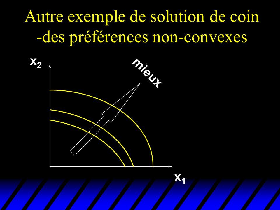 Autre exemple de solution de coin -des préférences non-convexes x1x1 x2x2 mieux