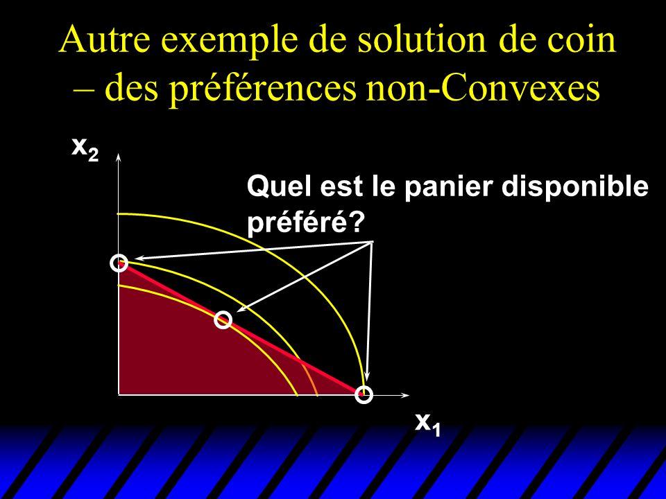 Autre exemple de solution de coin – des préférences non-Convexes x1x1 x2x2 Quel est le panier disponible préféré?
