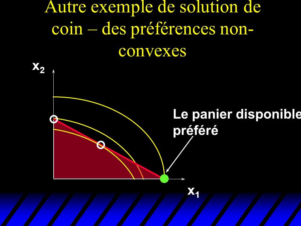 Autre exemple de solution de coin – des préférences non- convexes x1x1 x2x2 Le panier disponible préféré