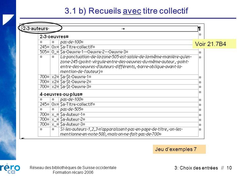 Réseau des bibliothèques de Suisse occidentale Formation récaro 2006 3: Choix des entrées // 10 3.1 b) Recueils avec titre collectif Jeu dexemples 7 V