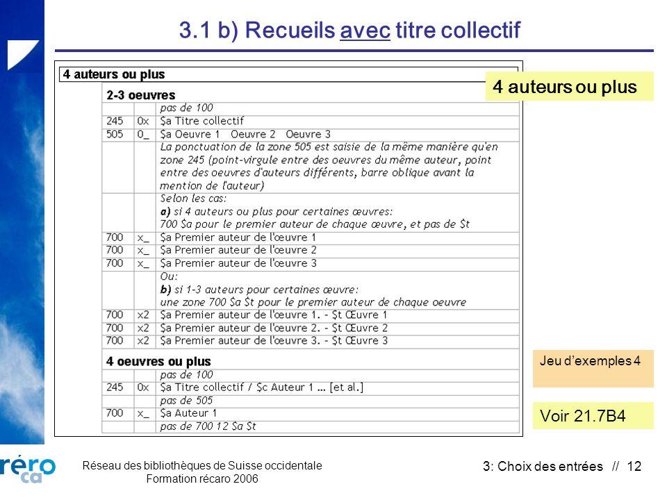 Réseau des bibliothèques de Suisse occidentale Formation récaro 2006 3: Choix des entrées // 12 3.1 b) Recueils avec titre collectif Voir 21.7B4 Jeu d