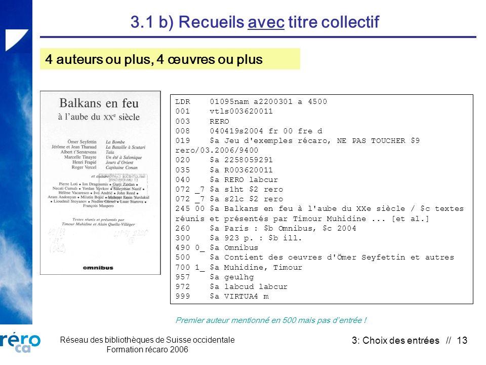 Réseau des bibliothèques de Suisse occidentale Formation récaro 2006 3: Choix des entrées // 13 3.1 b) Recueils avec titre collectif 4 auteurs ou plus