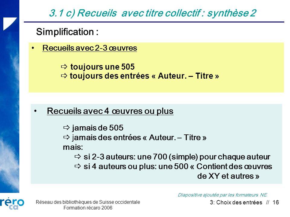 Réseau des bibliothèques de Suisse occidentale Formation récaro 2006 3: Choix des entrées // 16 3.1 c) Recueils avec titre collectif : synthèse 2 Recu