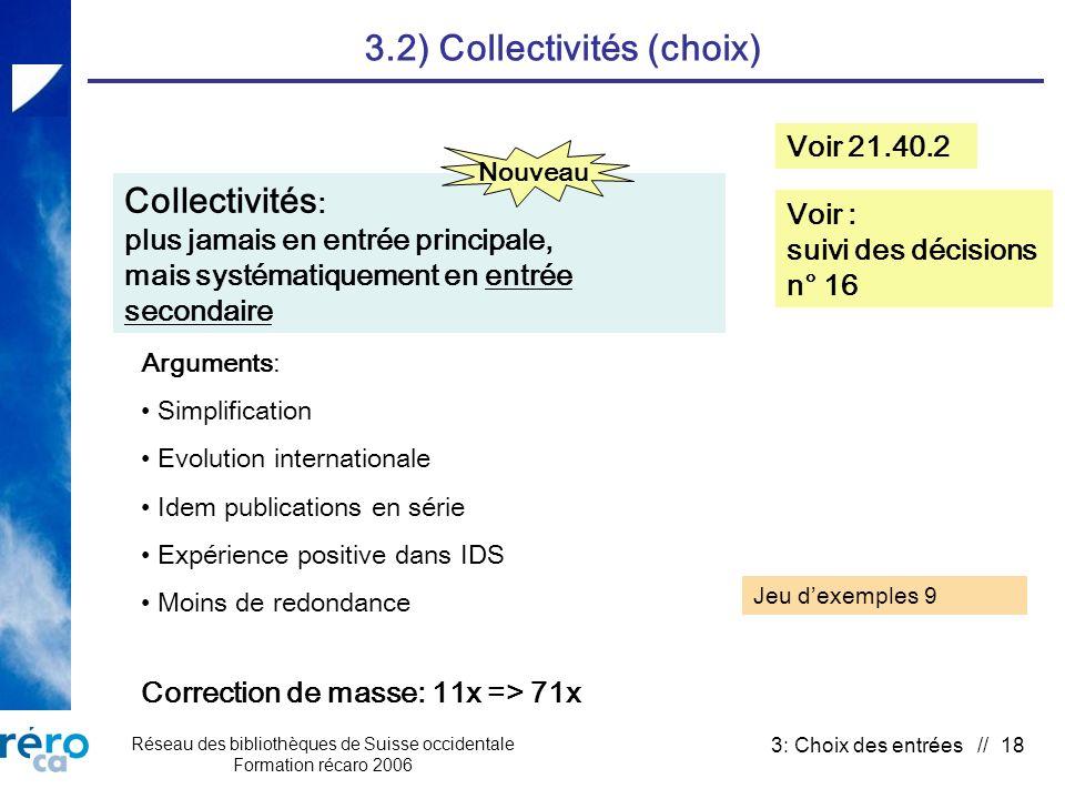 Réseau des bibliothèques de Suisse occidentale Formation récaro 2006 3: Choix des entrées // 18 3.2) Collectivités (choix) Collectivités : plus jamais