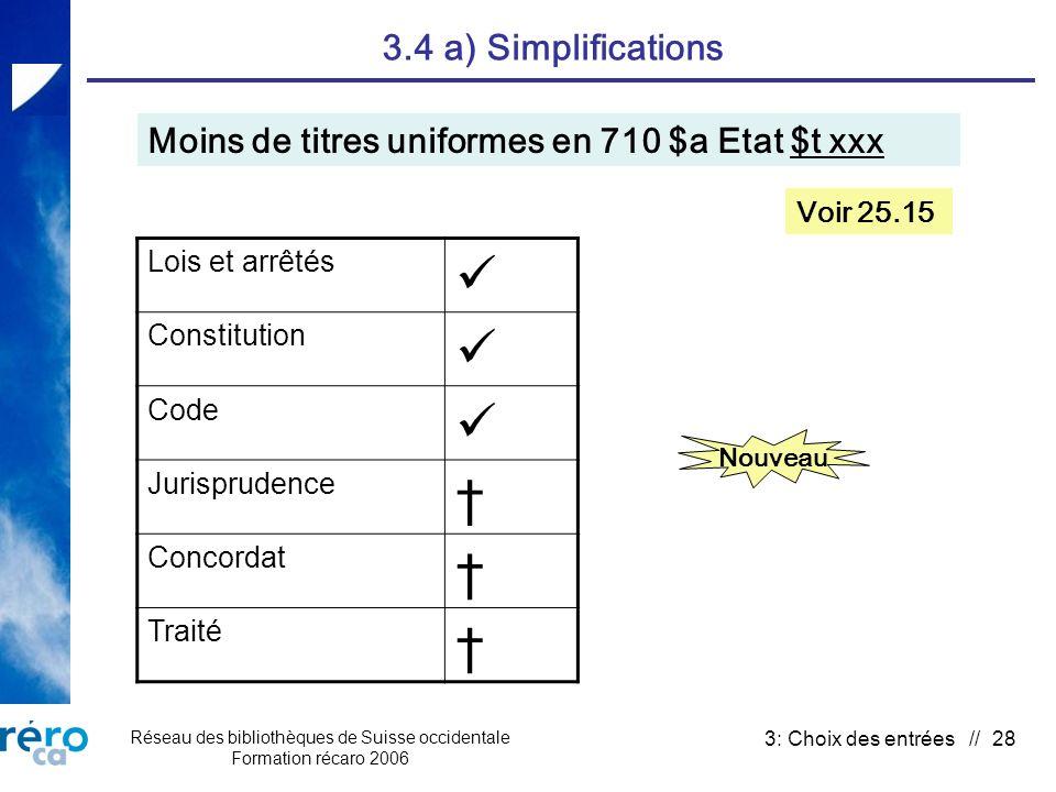 Réseau des bibliothèques de Suisse occidentale Formation récaro 2006 3: Choix des entrées // 28 3.4 a) Simplifications Moins de titres uniformes en 71