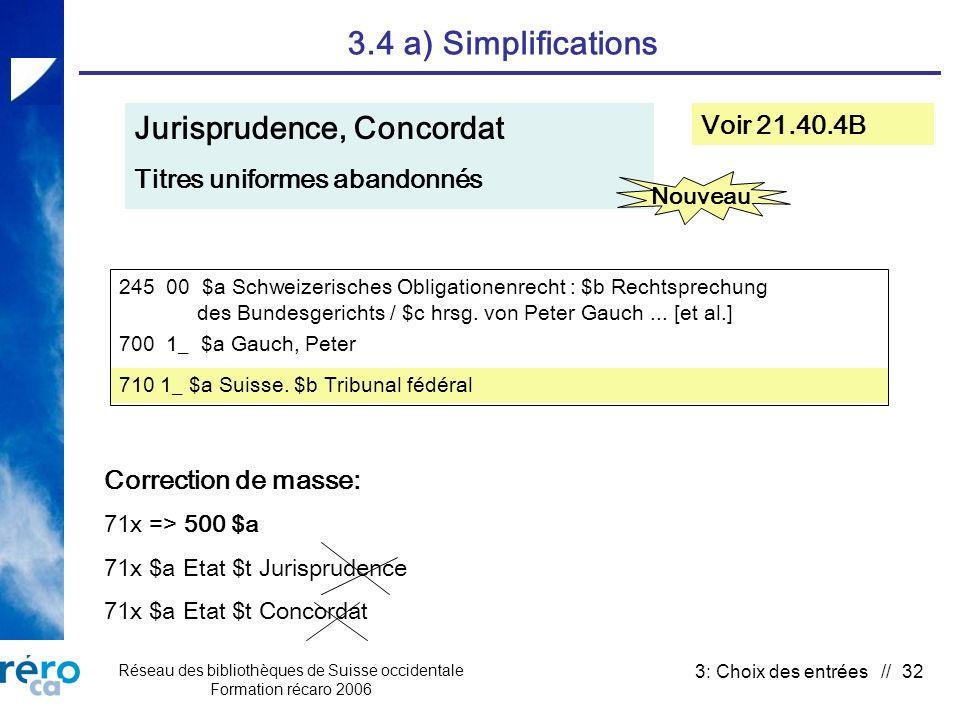 Réseau des bibliothèques de Suisse occidentale Formation récaro 2006 3: Choix des entrées // 32 3.4 a) Simplifications Jurisprudence, Concordat Titres