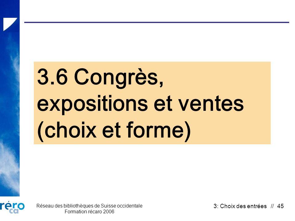 Réseau des bibliothèques de Suisse occidentale Formation récaro 2006 3: Choix des entrées // 45 3.6 Congrès, expositions et ventes (choix et forme)