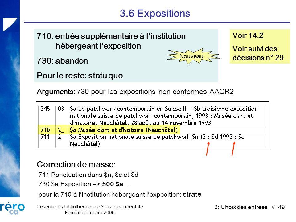 Réseau des bibliothèques de Suisse occidentale Formation récaro 2006 3: Choix des entrées // 49 3.6 Expositions 710: entrée supplémentaire à linstitut