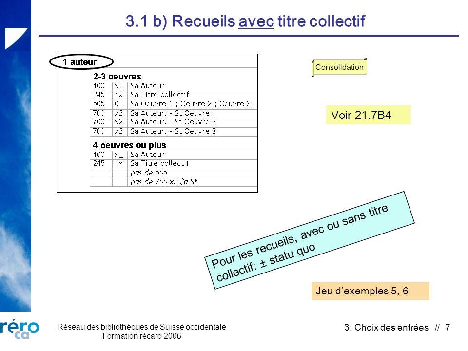 Réseau des bibliothèques de Suisse occidentale Formation récaro 2006 3: Choix des entrées // 7 3.1 b) Recueils avec titre collectif Pour les recueils,