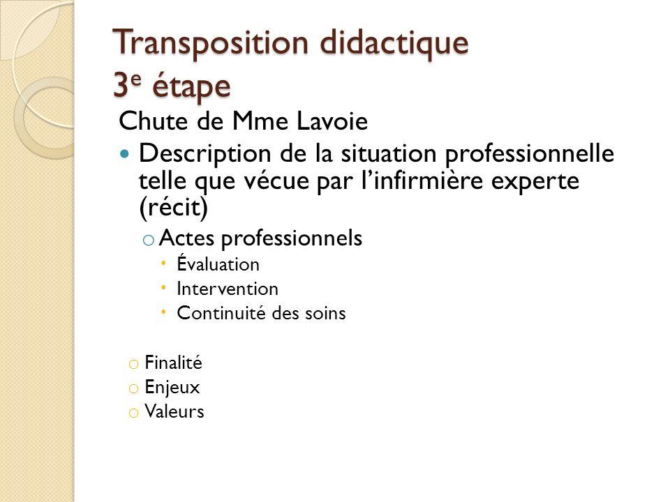 Transposition didactique 3 e étape Chute de Mme Lavoie Description de la situation professionnelle telle que vécue par linfirmière experte (récit) o A