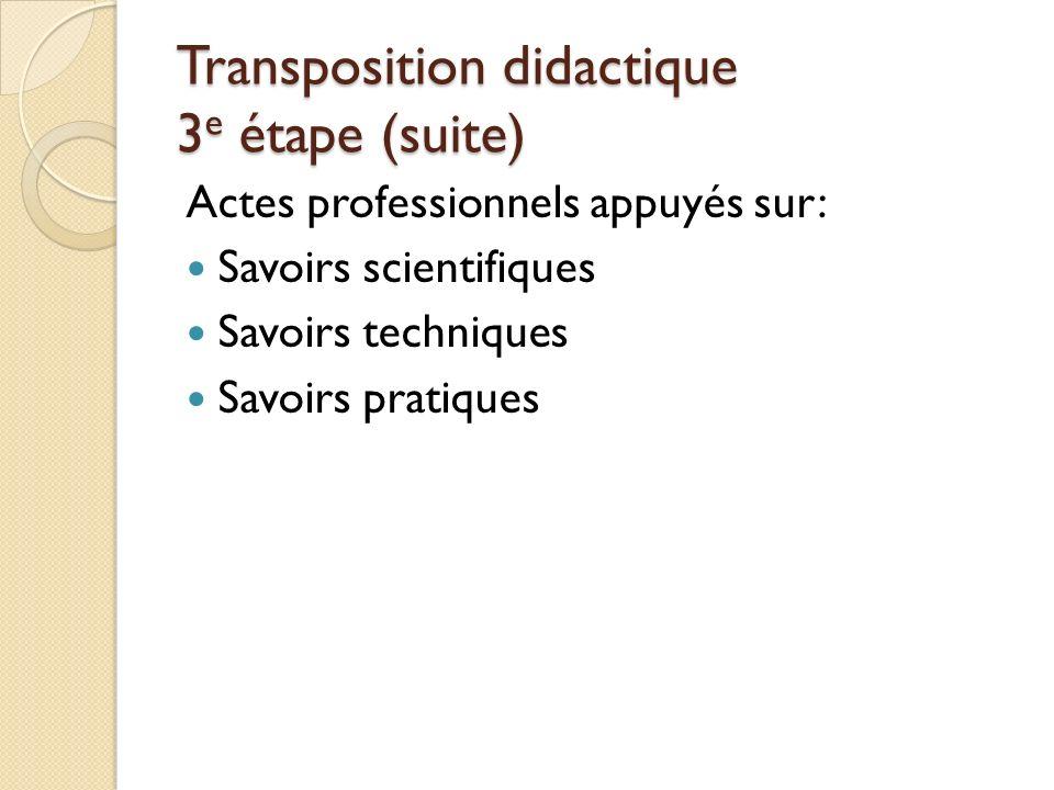 Transposition didactique 3 e étape (suite) Actes professionnels appuyés sur: Savoirs scientifiques Savoirs techniques Savoirs pratiques