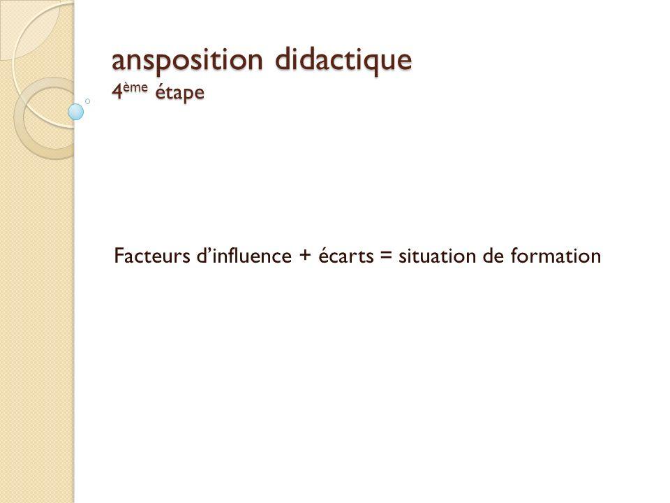 ansposition didactique 4 ème étape Facteurs dinfluence + écarts = situation de formation