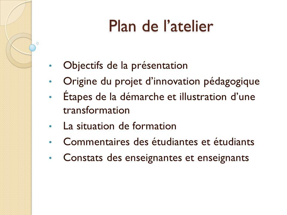 Plan de latelier Objectifs de la présentation Origine du projet dinnovation pédagogique Étapes de la démarche et illustration dune transformation La s
