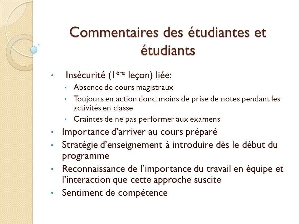 Commentaires des étudiantes et étudiants Insécurité (1 ère leçon) liée: Absence de cours magistraux Toujours en action donc, moins de prise de notes p