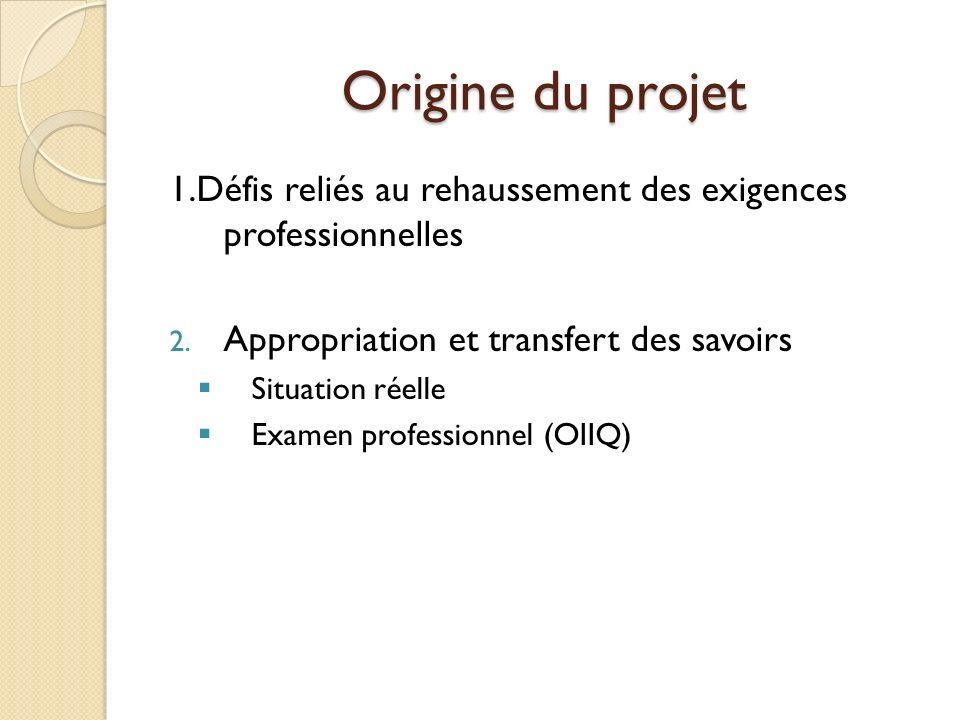 Origine du projet 1.Défis reliés au rehaussement des exigences professionnelles 2. Appropriation et transfert des savoirs Situation réelle Examen prof