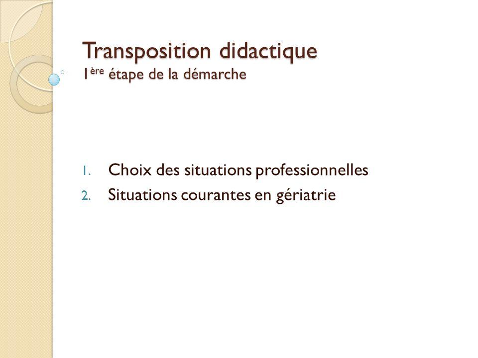 Transposition didactique 1 ère étape de la démarche 1. Choix des situations professionnelles 2. Situations courantes en gériatrie