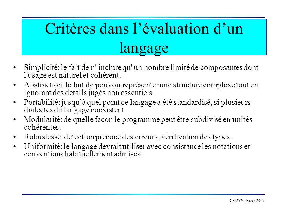 CSI2520, Hiver 2007 Critères dans lévaluation dun langage Simplicité: le fait de n inclure qu un nombre limité de composantes dont l usage est naturel et cohérent.