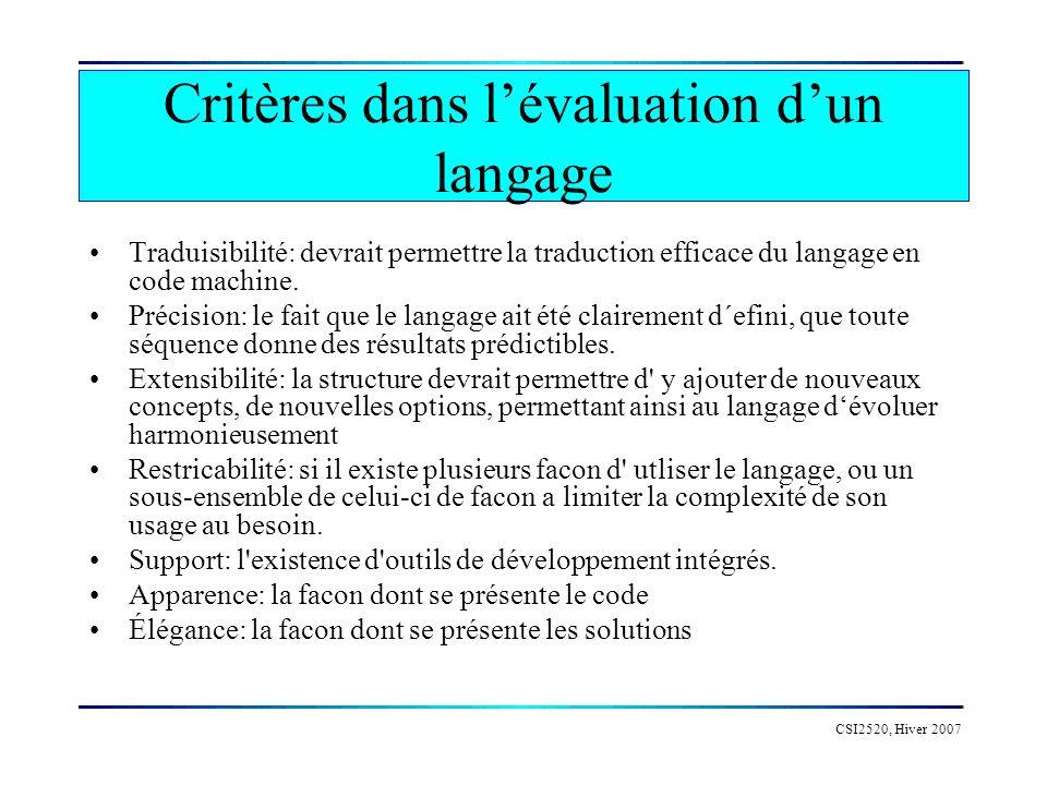 CSI2520, Hiver 2007 Critères dans lévaluation dun langage Traduisibilité: devrait permettre la traduction efficace du langage en code machine.