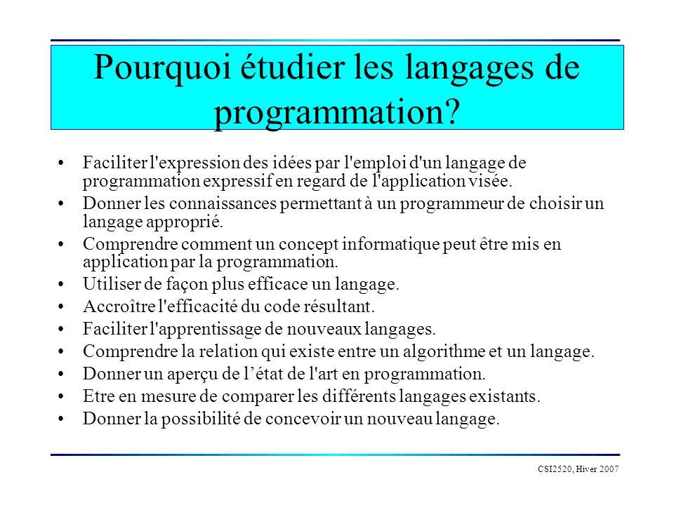 CSI2520, Hiver 2007 Tous les langages de programmation ont: variables, constantes, strucutres de données règles de portée types, expressions structures de contrôle (selection, iteration) récursivité (pour la plupart des langages) sous-programmes...