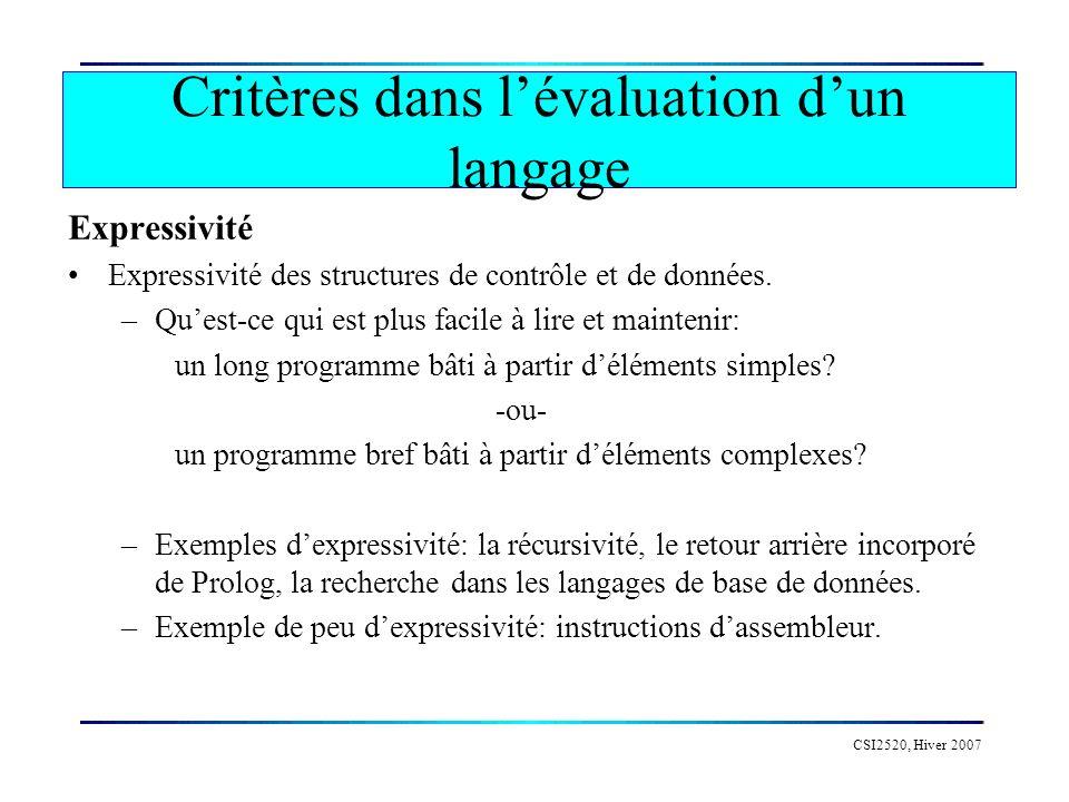 CSI2520, Hiver 2007 Facilité de lecture La lisibilité dun langage est essentielle, en particulier, pour des fins dévolution, de maintenance, et de mise à jour des logiciels.