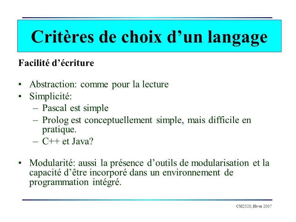 CSI2520, Hiver 2007 Choisir le meilleur langage par application Traitement du langage Retour-arrière (jeux) Simulations … par familiarisation pour travailler en équipe par gout Choix dun langage de programmation