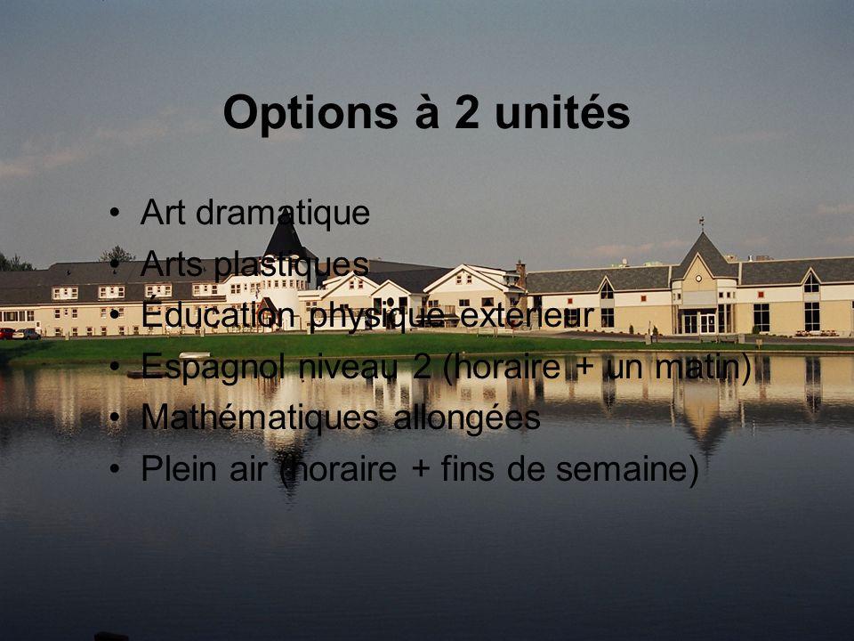 Options à 2 unités Art dramatique Arts plastiques Éducation physique extérieur Espagnol niveau 2 (horaire + un matin) Mathématiques allongées Plein air (horaire + fins de semaine)