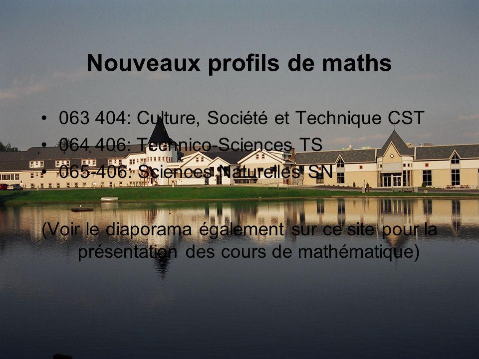 Nouveaux profils de maths 063 404: Culture, Société et Technique CST 064 406: Technico-Sciences TS 065-406: Sciences Naturelles SN (Voir le diaporama également sur ce site pour la présentation des cours de mathématique)