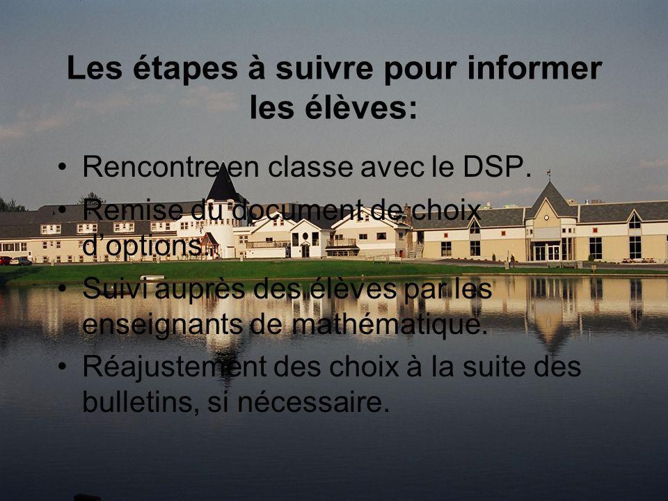 Les étapes à suivre pour informer les élèves: Rencontre en classe avec le DSP.