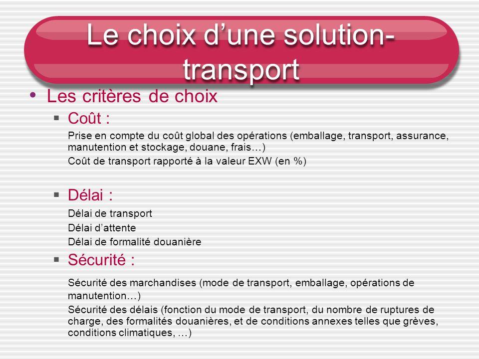 Le choix dune solution- transport L es critères de choix Coût : Prise en compte du coût global des opérations (emballage, transport, assurance, manute