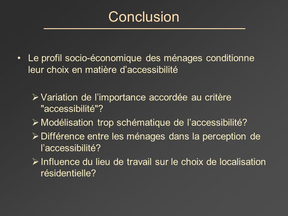 Conclusion Le profil socio-économique des ménages conditionne leur choix en matière daccessibilité Variation de limportance accordée au critère accessibilité .