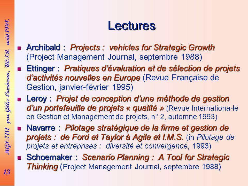 13 MGP-7111 par Gilles Corriveau, UQTR, août 1998. Lectures Archibald : Projects : vehicles for Strategic Growth Archibald : Projects : vehicles for S