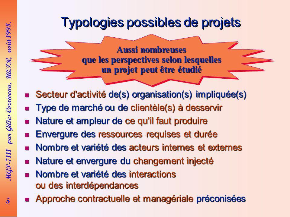 5 MGP-7111 par Gilles Corriveau, UQTR, août 1998. Typologies possibles de projets Secteur d'activité de(s) organisation(s) impliquée(s) Secteur d'acti