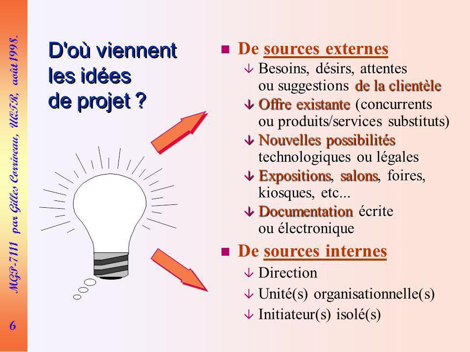 7 MGP-7111 par Gilles Corriveau, UQTR, août 1998.Comment naissent les idées de projet .