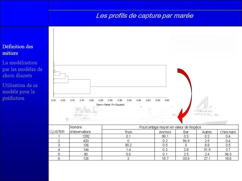 Définition des métiers La modélisation par les modèles de choix discrets Utilisation de ce modèle pour la prédiction Attribution dun métier par marée