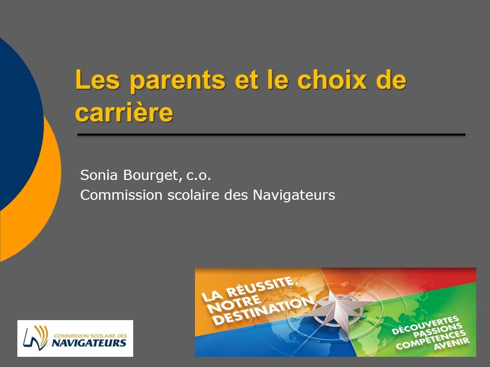 Les parents et le choix de carrière Sonia Bourget, c.o. Commission scolaire des Navigateurs