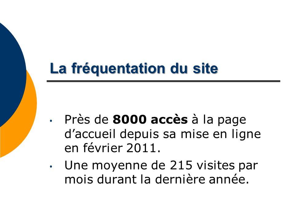 Lafréquentationdusite La fréquentation du site Près de 8000 accès à la page daccueil depuis sa mise en ligne en février 2011.