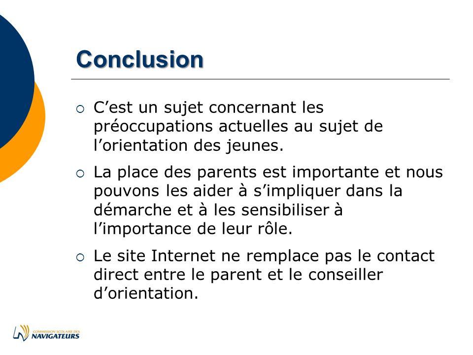 Conclusion Cest un sujet concernant les préoccupations actuelles au sujet de lorientation des jeunes.