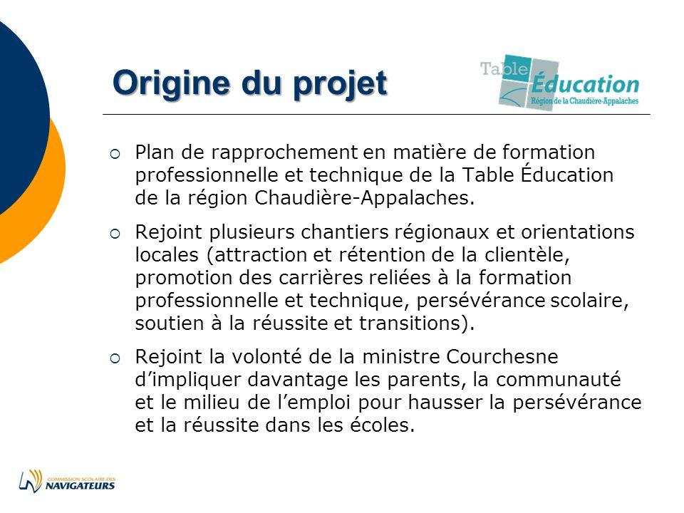 Origine du projet Plan de rapprochement en matière de formation professionnelle et technique de la Table Éducation de la région Chaudière-Appalaches.