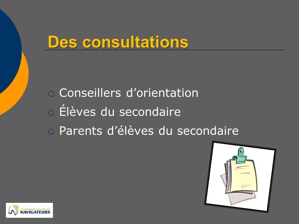 Desconsultations Des consultations Conseillers dorientation Élèves du secondaire Parents délèves du secondaire