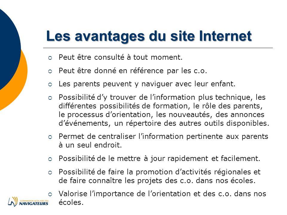 LesavantagesdusiteInternet Les avantages du site Internet Peut être consulté à tout moment.