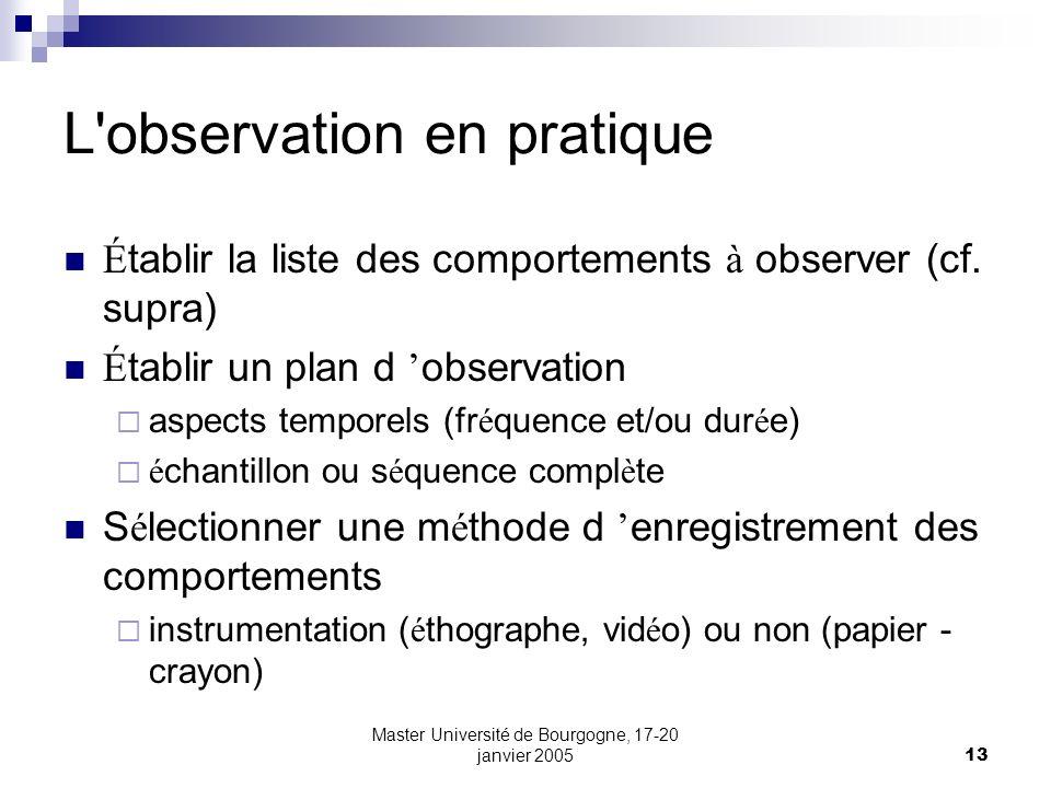 Master Université de Bourgogne, 17-20 janvier 200513 L'observation en pratique É tablir la liste des comportements à observer (cf. supra) É tablir un