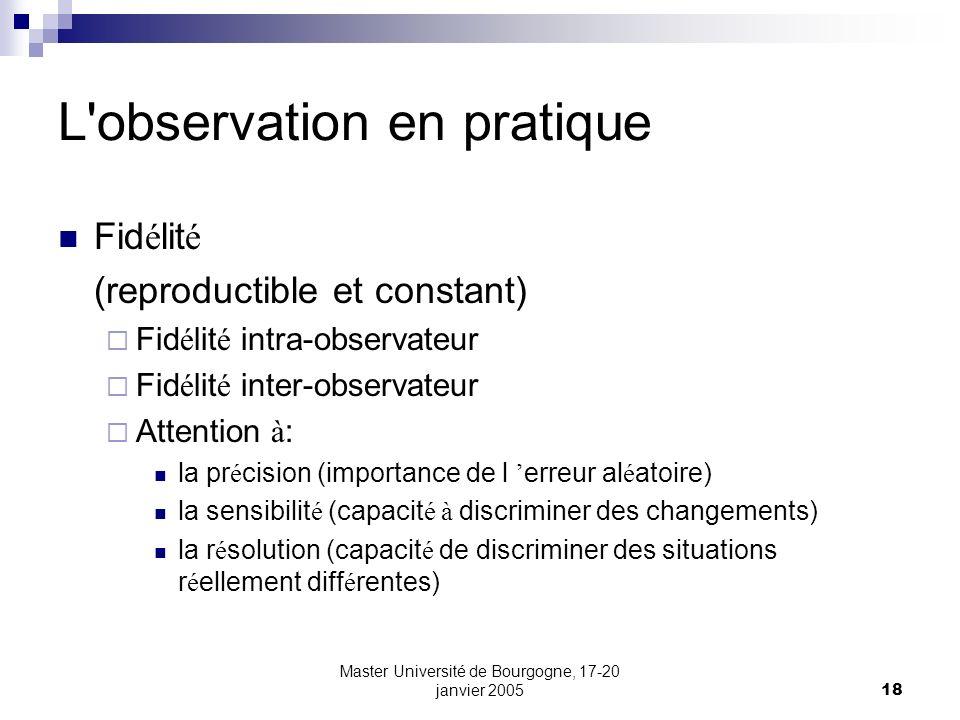 Master Université de Bourgogne, 17-20 janvier 200518 L'observation en pratique Fid é lit é (reproductible et constant) Fid é lit é intra-observateur F