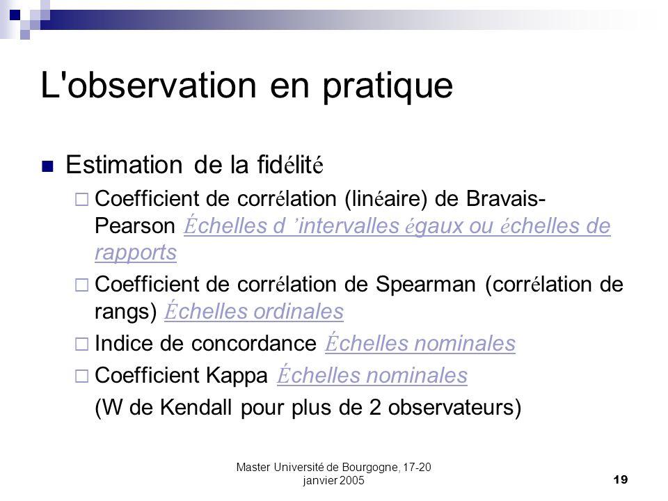 Master Université de Bourgogne, 17-20 janvier 200519 L'observation en pratique Estimation de la fid é lit é Coefficient de corr é lation (lin é aire)