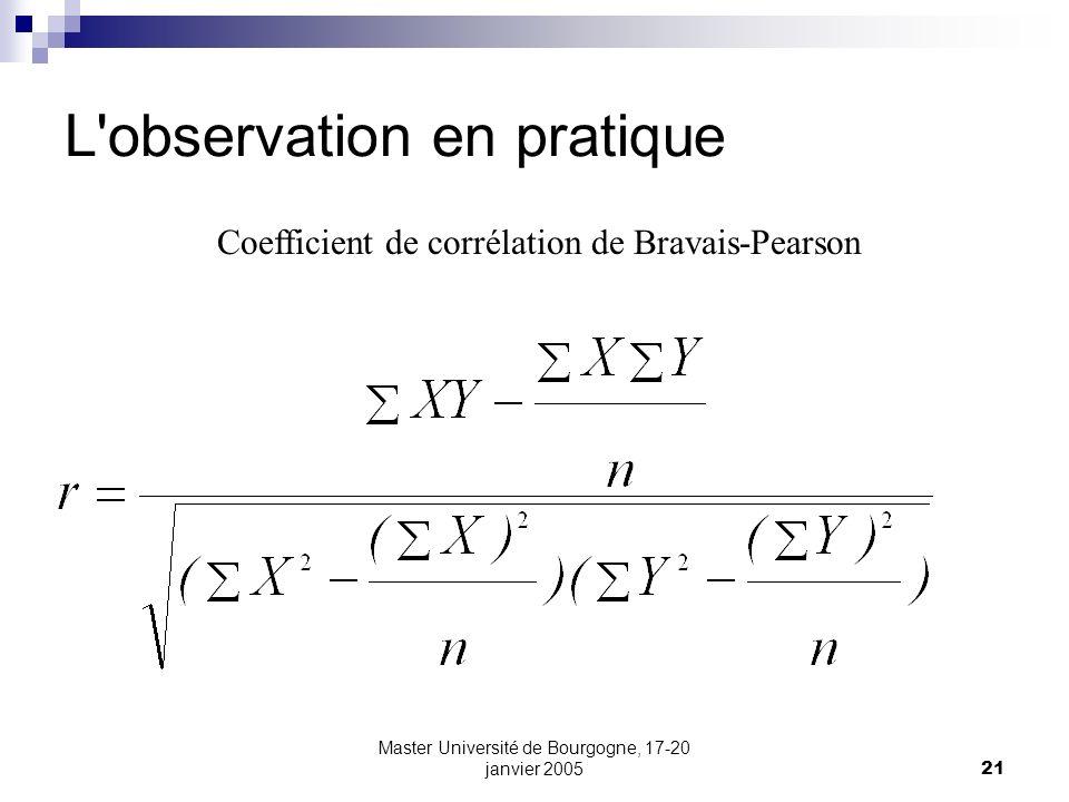 Master Université de Bourgogne, 17-20 janvier 200521 L'observation en pratique Coefficient de corrélation de Bravais-Pearson