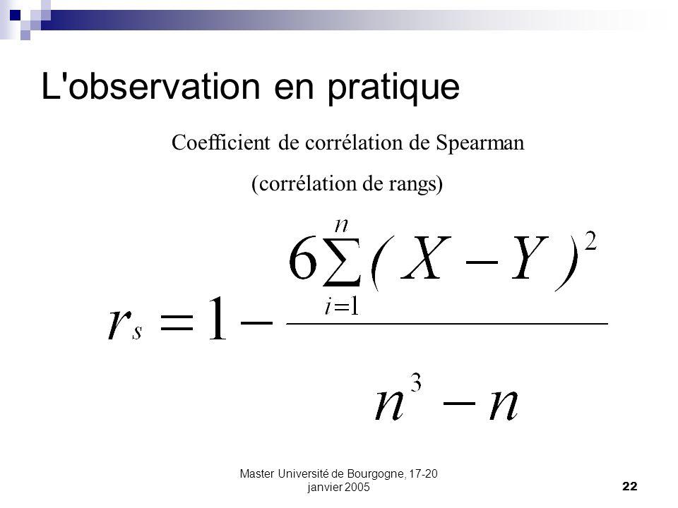 Master Université de Bourgogne, 17-20 janvier 200522 L'observation en pratique Coefficient de corrélation de Spearman (corrélation de rangs)
