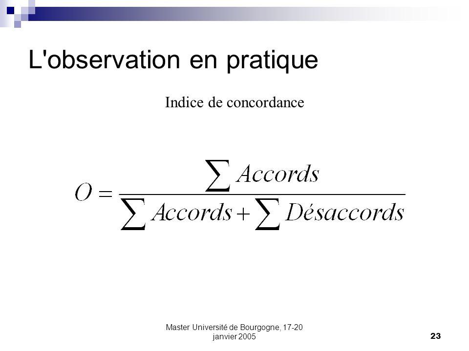 Master Université de Bourgogne, 17-20 janvier 200523 L'observation en pratique Indice de concordance