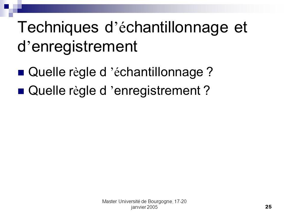 Master Université de Bourgogne, 17-20 janvier 200525 Techniques d é chantillonnage et d enregistrement Quelle r è gle d é chantillonnage ? Quelle r è