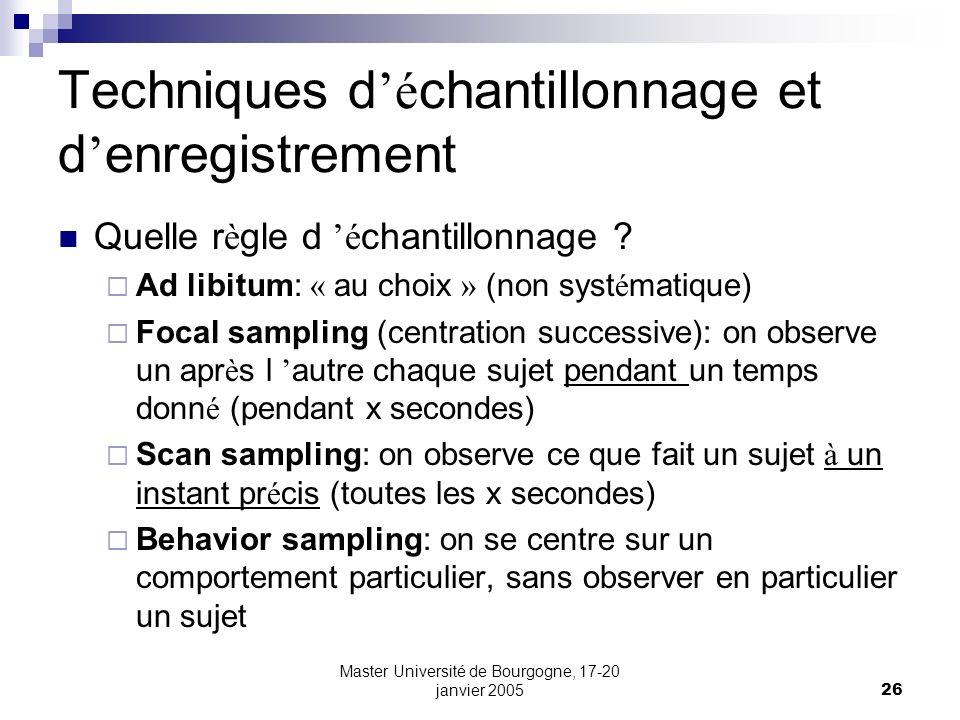 Master Université de Bourgogne, 17-20 janvier 200526 Techniques d é chantillonnage et d enregistrement Quelle r è gle d é chantillonnage ? Ad libitum:
