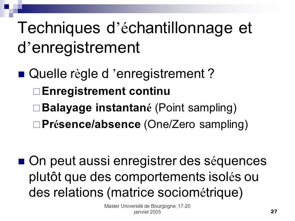 Master Université de Bourgogne, 17-20 janvier 200527 Techniques d é chantillonnage et d enregistrement Quelle r è gle d enregistrement ? Enregistremen