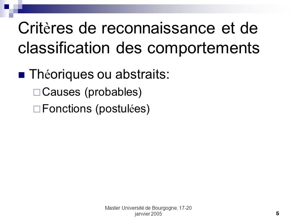 Master Université de Bourgogne, 17-20 janvier 20055 Crit è res de reconnaissance et de classification des comportements Th é oriques ou abstraits: Cau